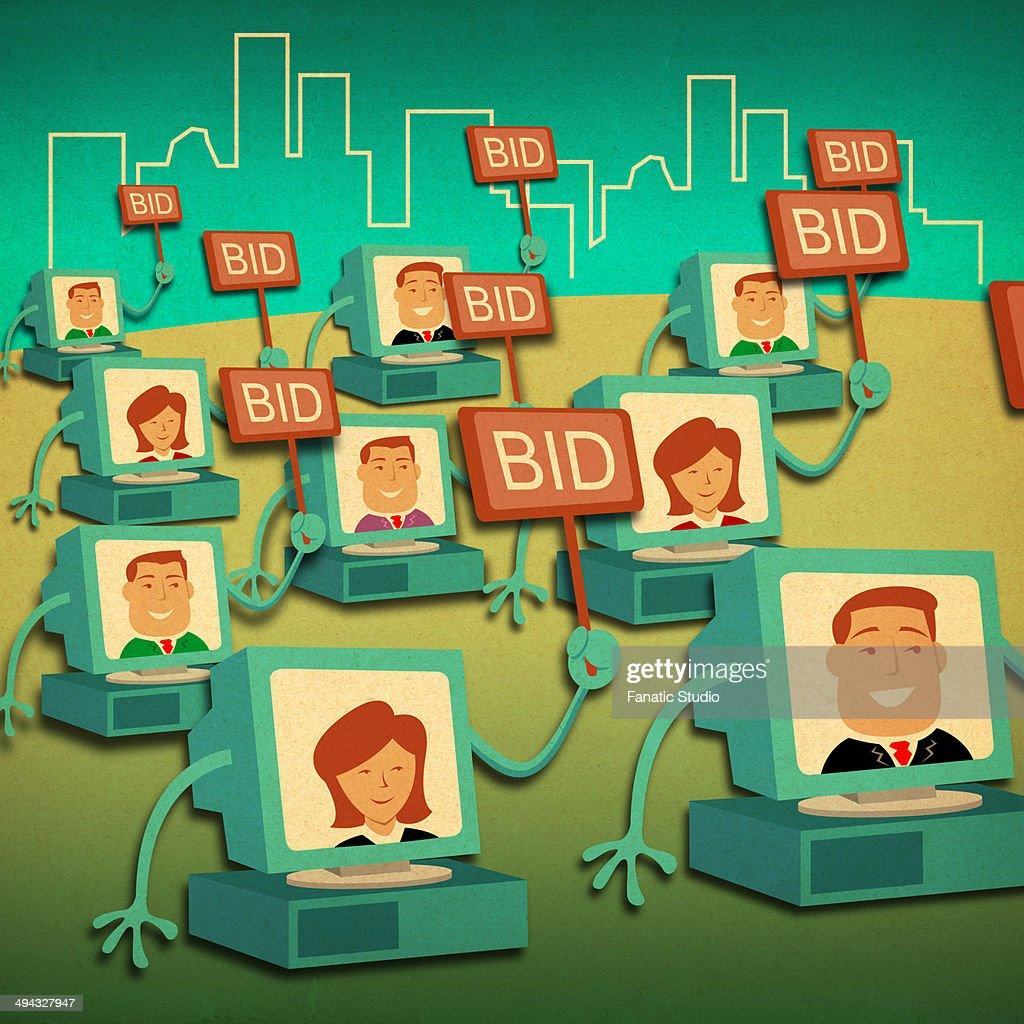 Business people bidding online : stock illustration