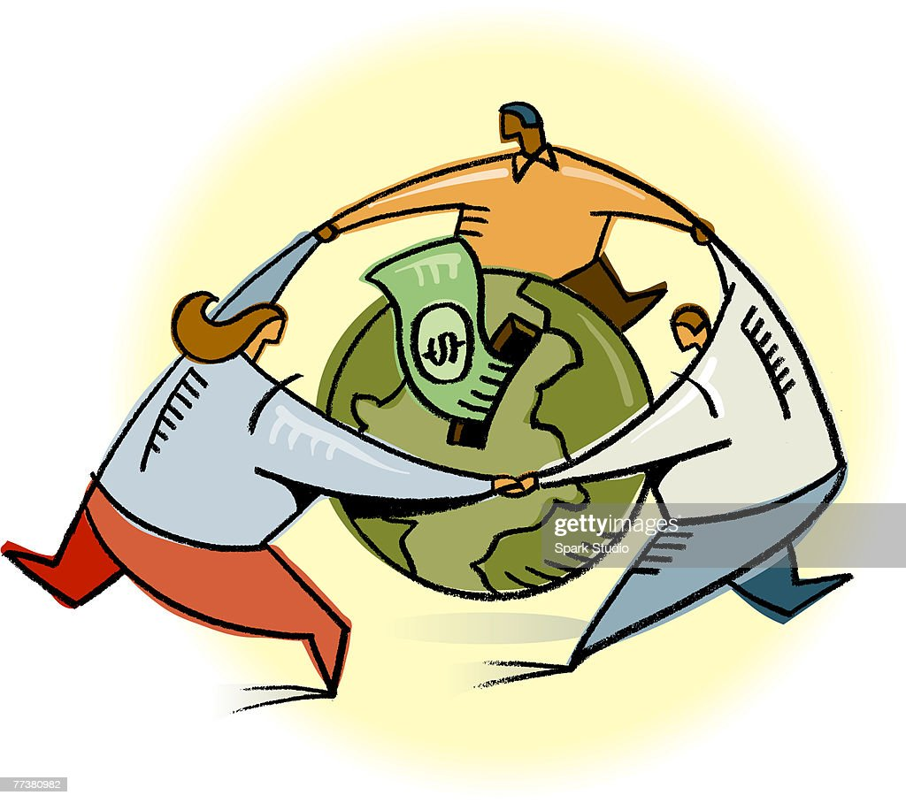 Business people circling a globe with cash : Illustration