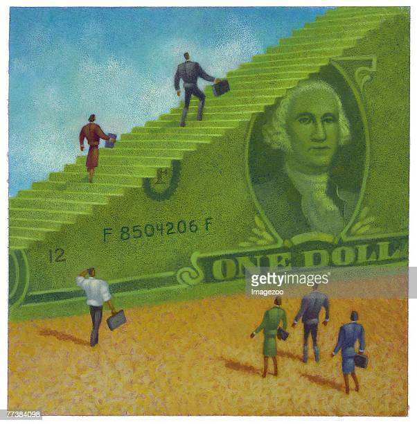business people climbing up on a dollar bill - spending money stock illustrations, clip art, cartoons, & icons