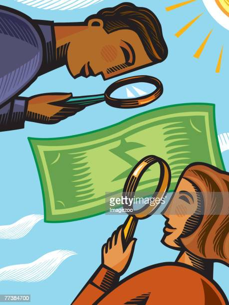 business people examining a dollar bill - cash flow stock illustrations, clip art, cartoons, & icons