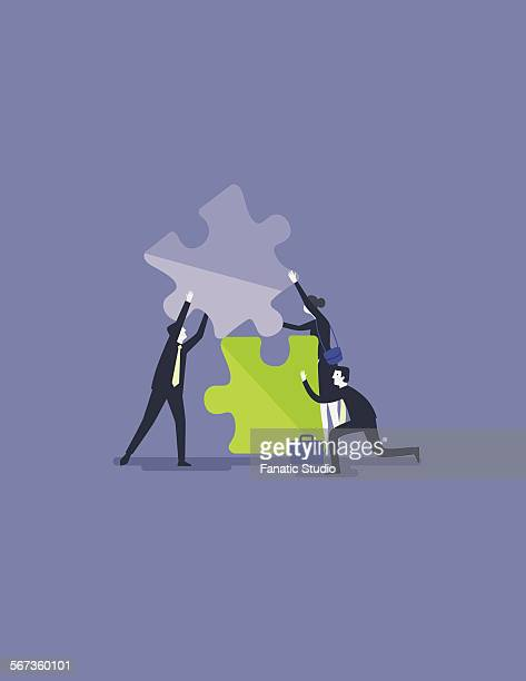 business people fixing jigsaw piece for solution to collaborate or merge - three people stock illustrations