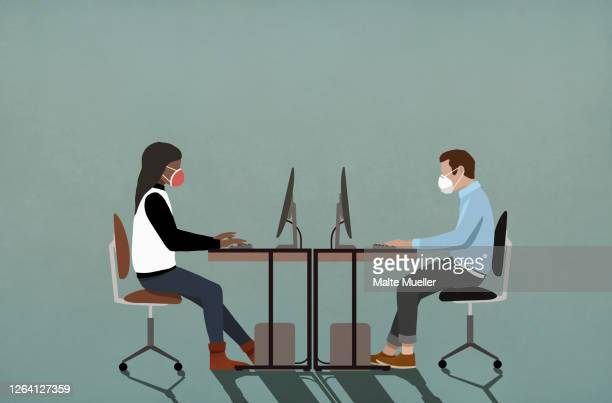 business people in face masks working at computers - illustration stock illustrations