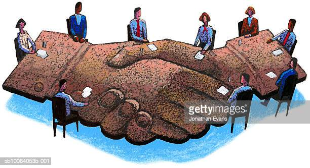 Business people meeting at table looking like a handshake