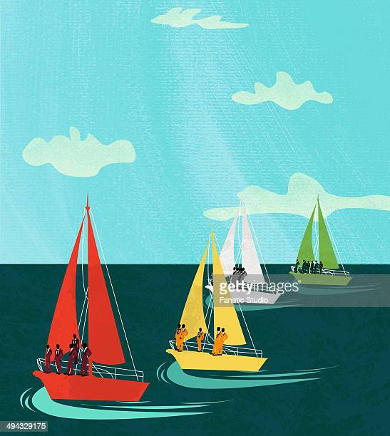 Business people sailing in multicolored boats in an ocean