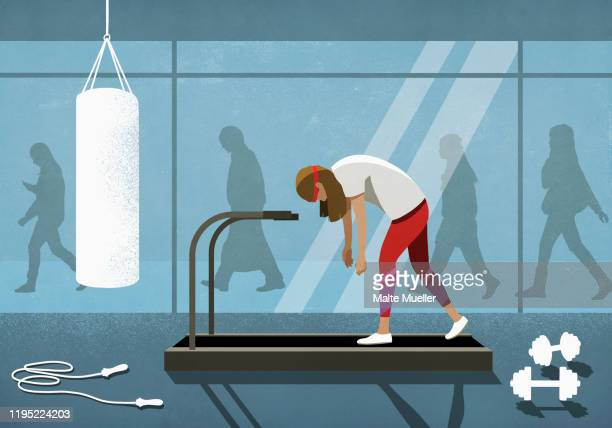business people walking behind exhausted woman on treadmill - overworked stock illustrations