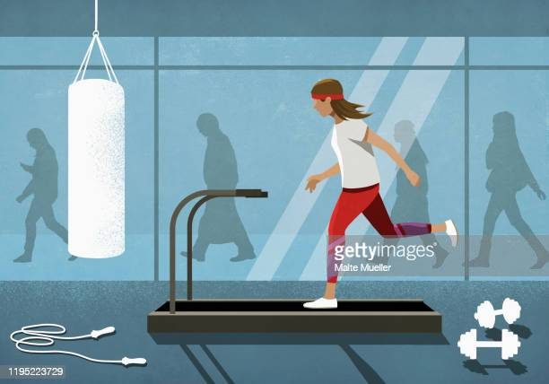business people walking behind woman running on treadmill - image technique stock illustrations