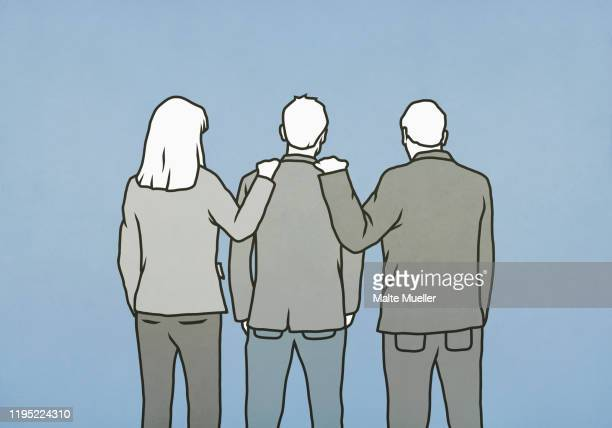 business people with hands on colleagues shoulders - family stock illustrations