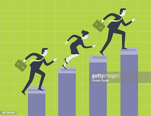 business professionals conquering hurdles to reach their goal - close to stock illustrations