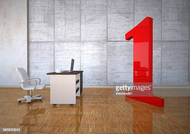 Business room with huge red number one, 3d illustration