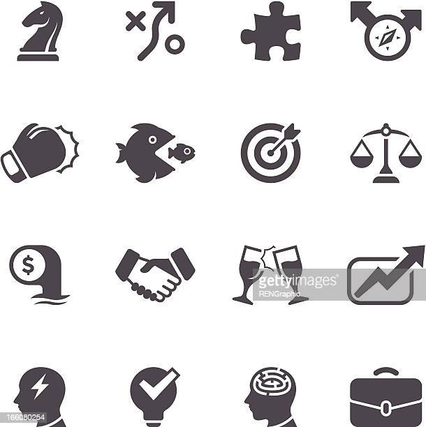 business strategy icon set | unique series - dart stock illustrations, clip art, cartoons, & icons