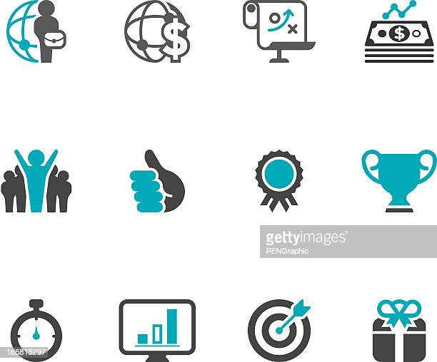 business & success icon set | concise series - applauding stock illustrations, clip art, cartoons, & icons