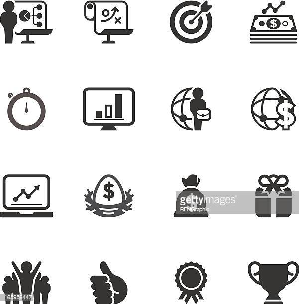 business & success icon set | unique series - applauding stock illustrations, clip art, cartoons, & icons