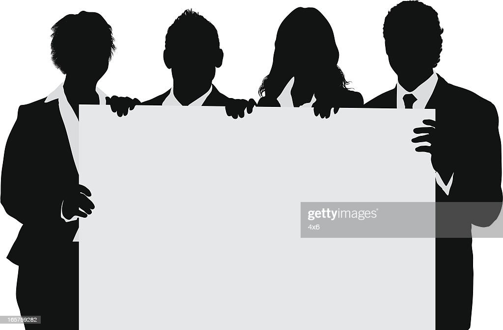 business team holding blank poster board vector art getty images