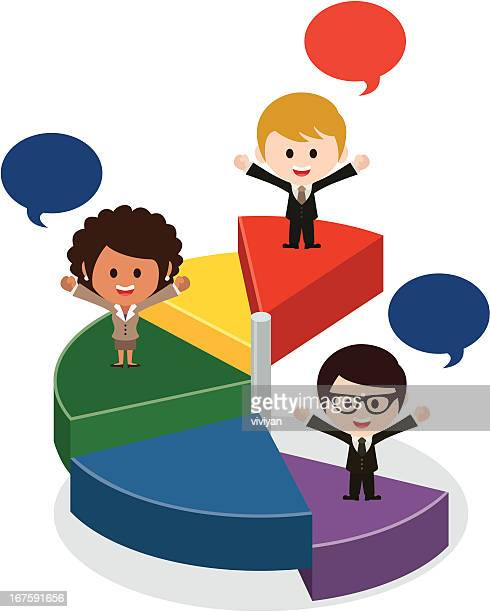 business team with pie chart - cash flow stock illustrations, clip art, cartoons, & icons