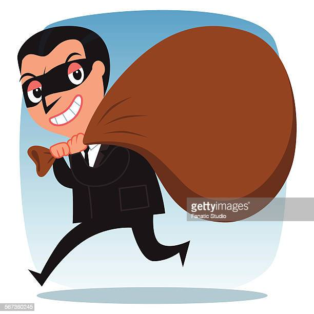 Business thief sneaking out with sack of wealth on his shoulder