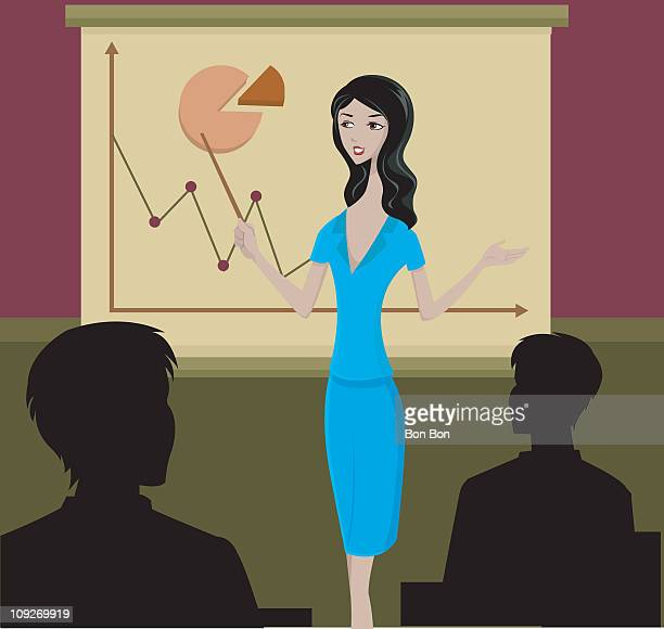 A business woman giving a presentation