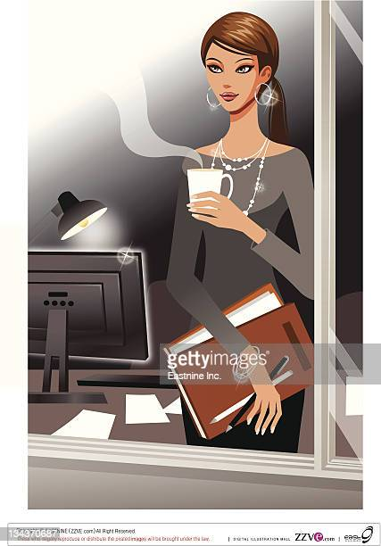 Business woman looking outside the window
