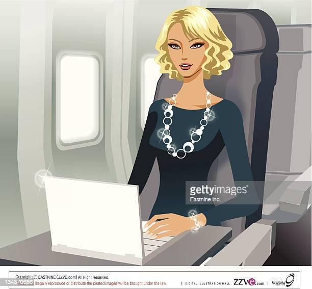 ilustraciones, imágenes clip art, dibujos animados e iconos de stock de business woman working with laptop in airplane - mujeres de mediana edad