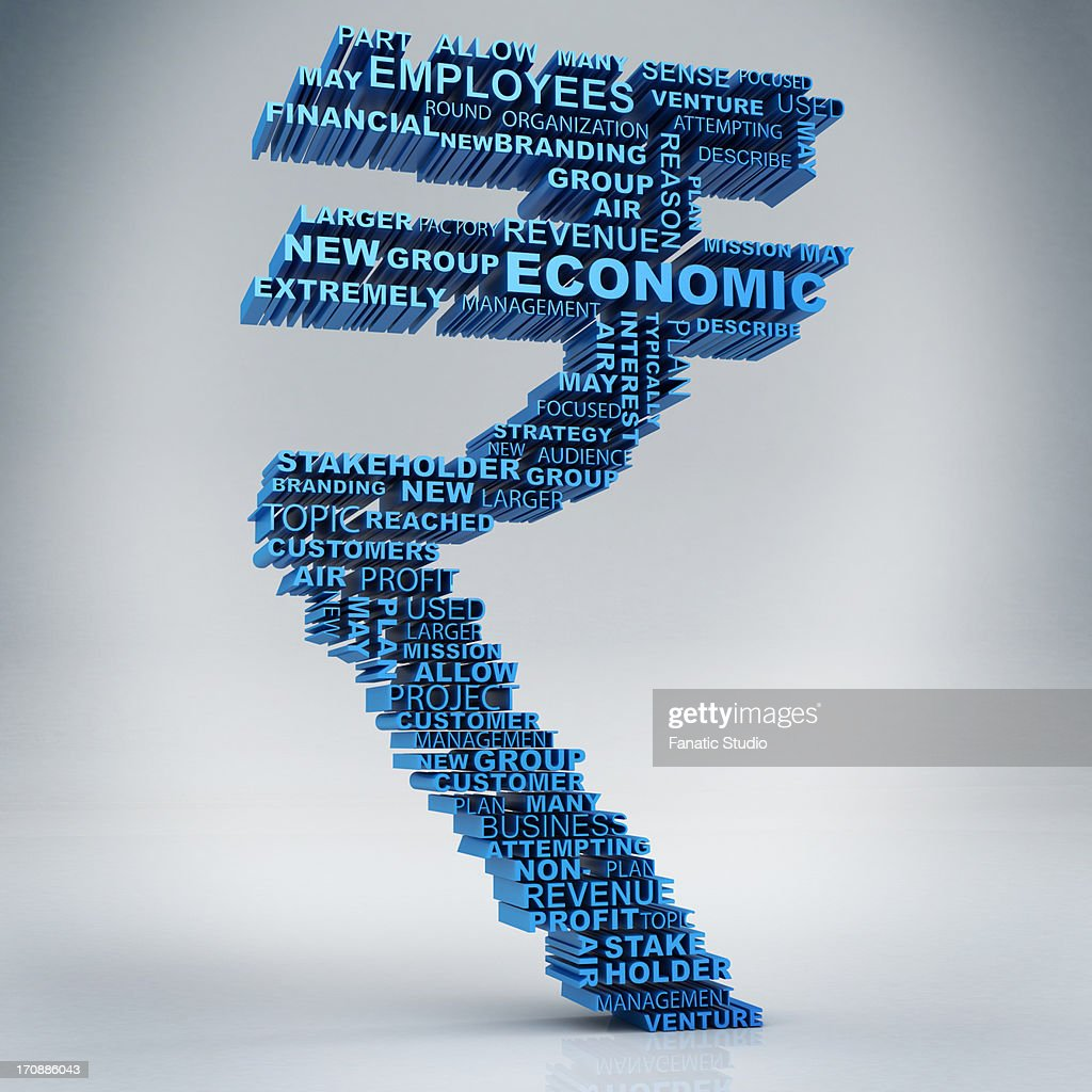 Business Words Forming Indian Rupee Symbol Stock Illustration