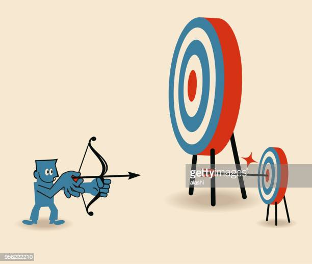 ilustrações de stock, clip art, desenhos animados e ícones de businessman aiming at smaller target and shooting on bull's-eye of dartboard - nicho