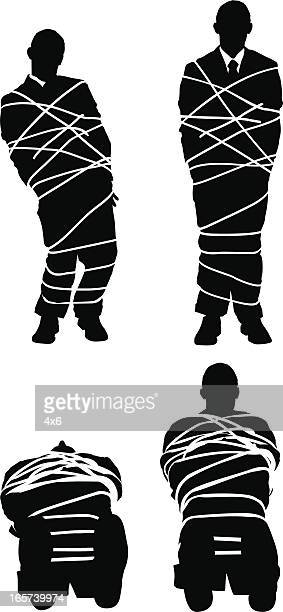 businessman all tied up - tied up stock illustrations