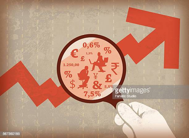 businessman analysing market graph with magnifying glass - market research stock illustrations