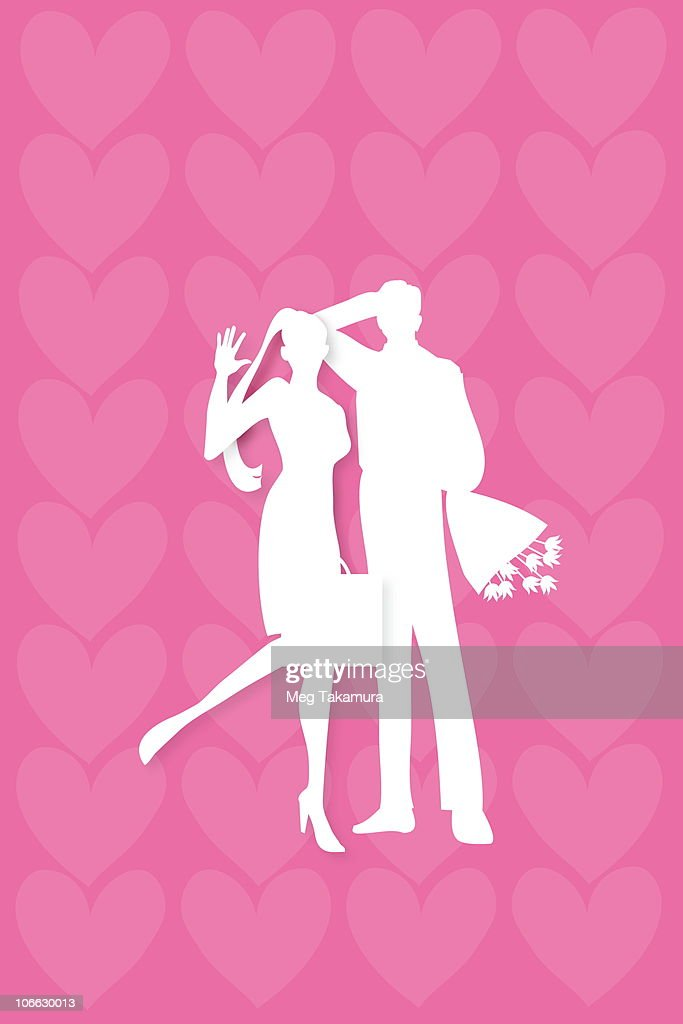 Businessman and businesswoman standing in front of heart shape background : stock illustration