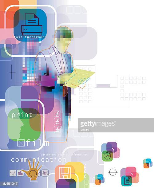 Businessman and computer composite