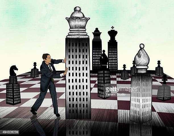 ilustraciones, imágenes clip art, dibujos animados e iconos de stock de businessman arranging chess piece on giant chessboard - tablero de ajedrez