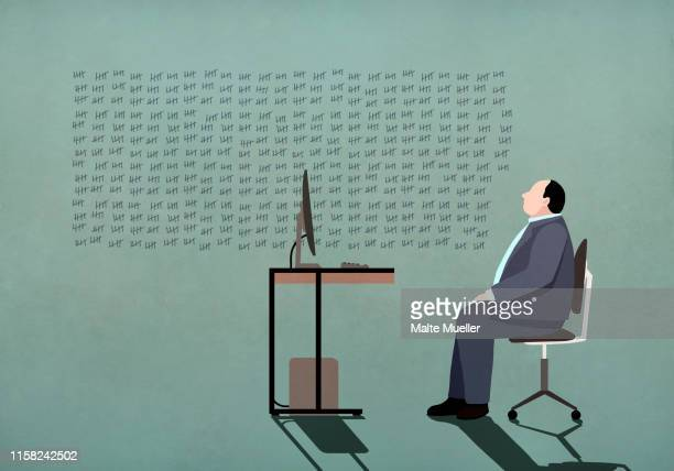 businessman at computer looking at tally marks on wall - counting stock illustrations