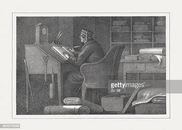 businessman at inventory in the past, lithograph, published in 1850 - sturgeon fish stock illustrations