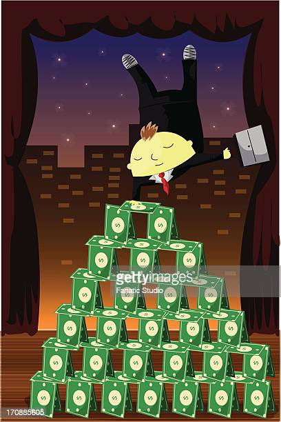businessman balancing upside down on pyramid of money - obsessive stock illustrations, clip art, cartoons, & icons