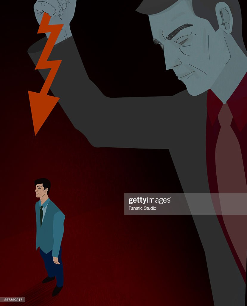 Businessman being stabbed in the back : stock illustration