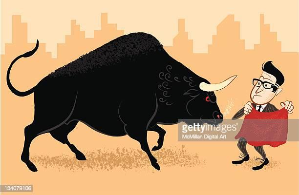 businessman bullfighter - bullfighter stock illustrations, clip art, cartoons, & icons