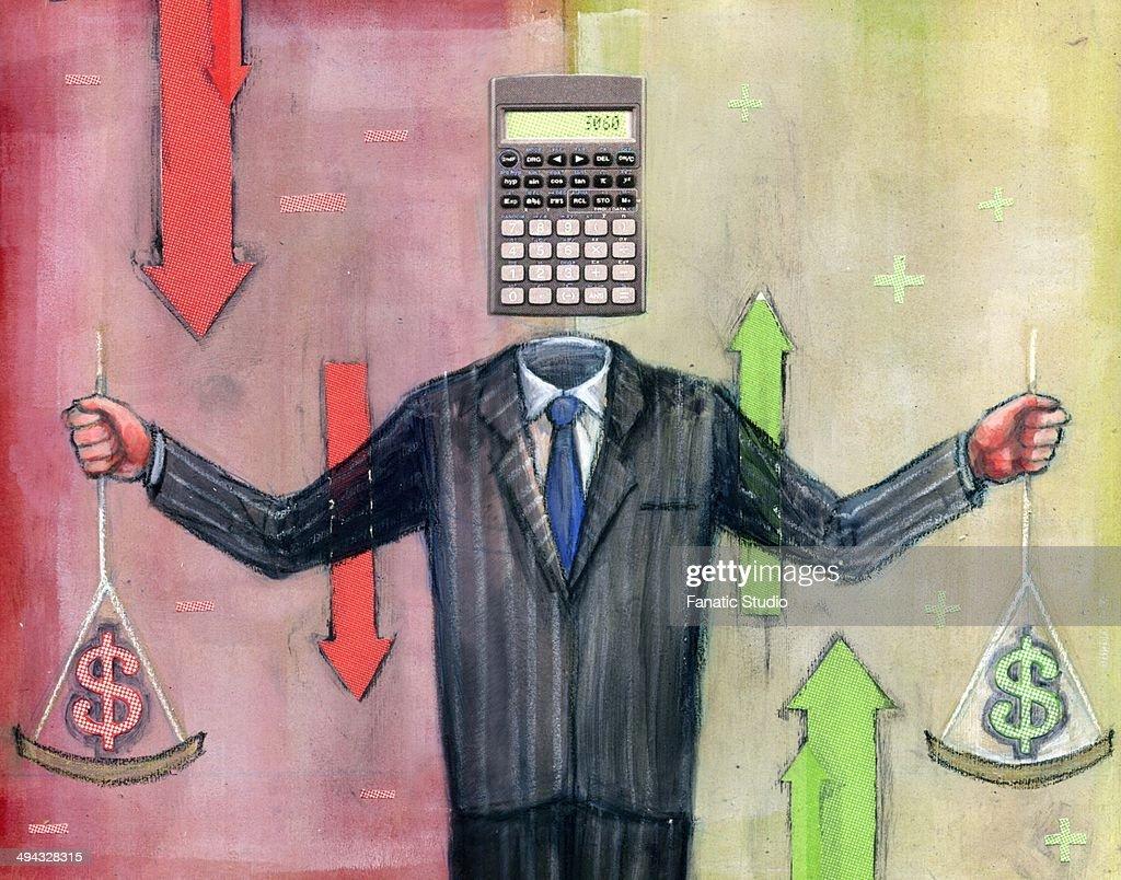 Businessman calculating money : stock illustration