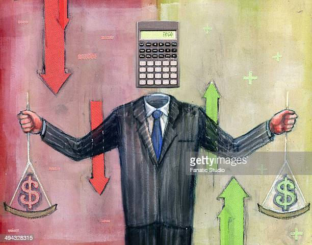 businessman calculating money - cash flow stock illustrations, clip art, cartoons, & icons