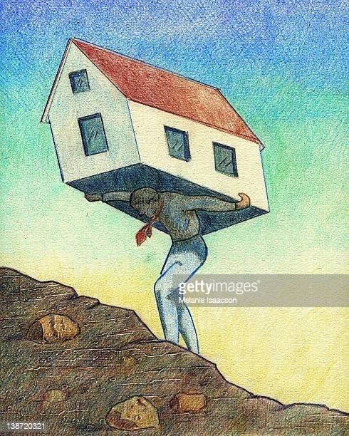 a businessman carrying a house on his back - out of context点のイラスト素材/クリップアート素材/マンガ素材/アイコン素材