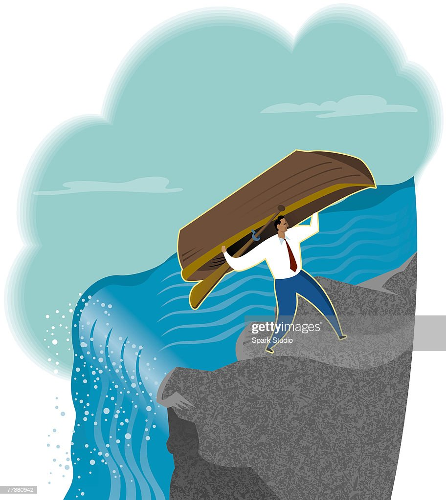 A businessman carrying his boat away from a waterfall : Illustration