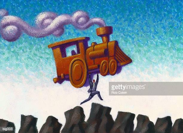 businessman carrying locomotive - crag stock illustrations, clip art, cartoons, & icons
