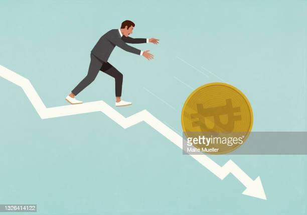 businessman chasing bitcoin falling down descending arrow - ビットコイン点のイラスト素材/クリップアート素材/マンガ素材/アイコン素材