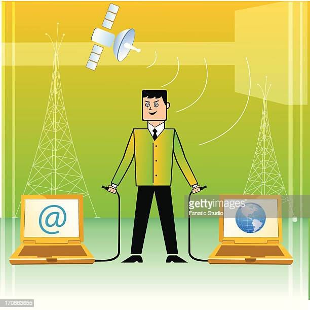 businessman connecting world with internet - abc broadcasting company stock illustrations