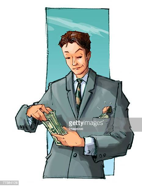 ilustraciones, imágenes clip art, dibujos animados e iconos de stock de businessman counting his money - impuesto sobre la renta