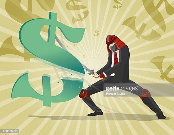 ilustraciones, imágenes clip art, dibujos animados e iconos de stock de businessman cutting dollar sign with samurai sword - fighting stance