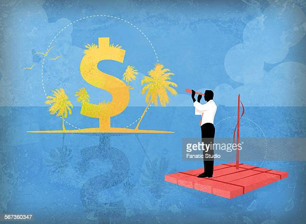 Businessman discovering dollar island