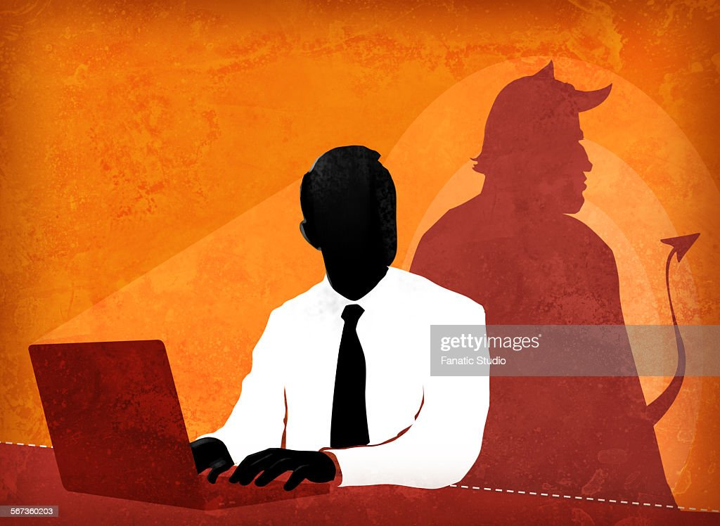 Businessman doing false advertisement : stock illustration