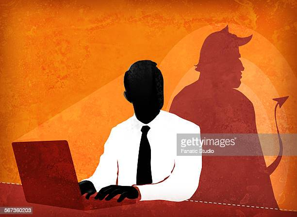 businessman doing false advertisement - office politics stock illustrations, clip art, cartoons, & icons