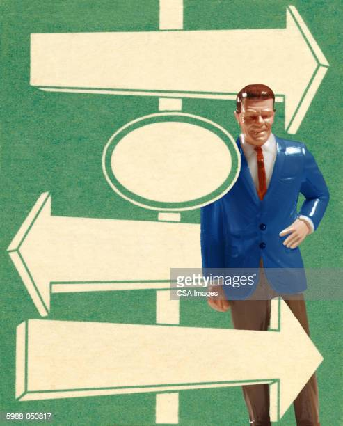 ilustraciones, imágenes clip art, dibujos animados e iconos de stock de businessman doll with signpost - figurine