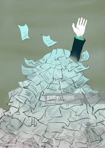 businessman drowning in a heap of documents - drowning stock illustrations, clip art, cartoons, & icons