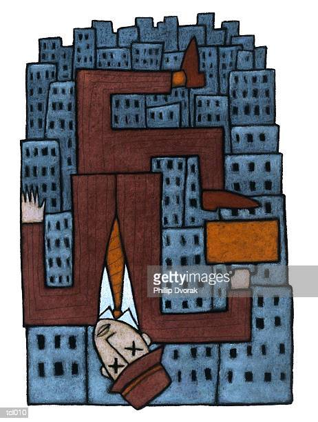 businessman falling from building - contortionist stock illustrations