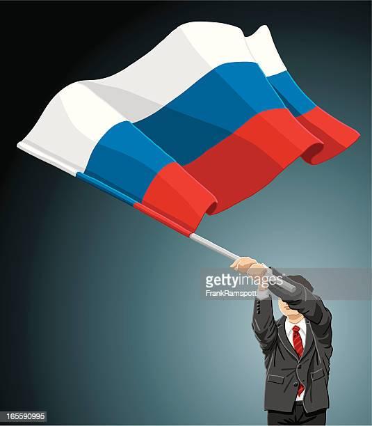 geschäftsmann flagge russland - russische flagge stock-grafiken, -clipart, -cartoons und -symbole